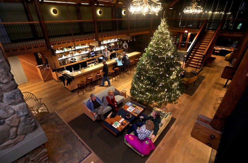 The newly remodeled lobby and bar leads to the Coast Kitchen in the Timber Cove Lodge on the Sonoma Coast. (John Burgess/The Press Democrat)