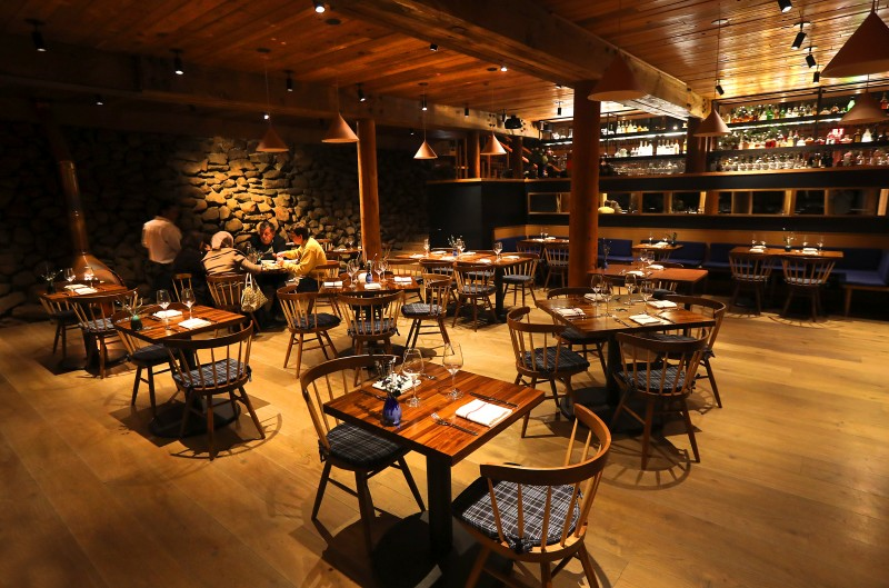 The dinning room at the Coast Kitchen in the newly remodeled Timber Cove Lodge on the Sonoma Coast. (Photo by John Burgess)