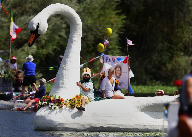 A replica of the original swan, constructed partially of recycled water bottles is floated downstream with Mr. Healdsburg, Tejpal Singh Sekhon, Saturday July 23, 2011 during the Healdsburg Water Carnival. (Kent Porter