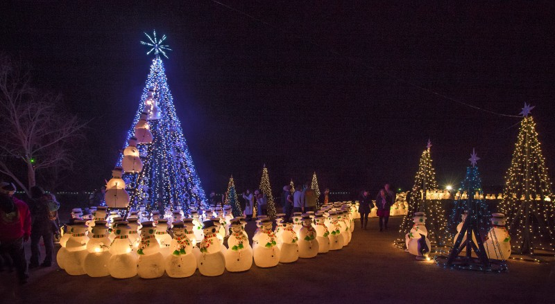 The annual lighting of the snowmen at Cornerstone took place on Saturday at exactly 6 p.m.. Every year, there's a new configuration, and this year's did not disappoint. (Photo by Robbi Pengelly