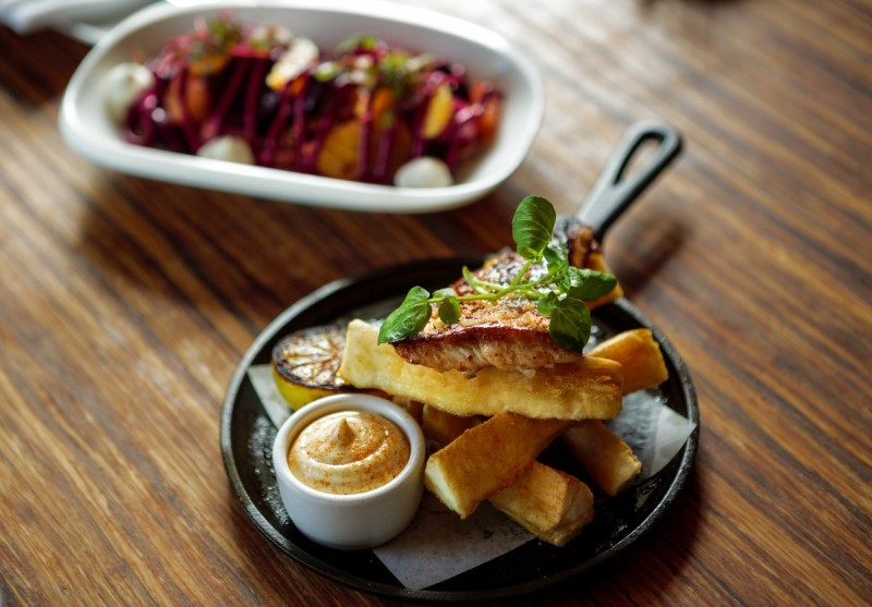 Beet salad and fish and chips from Willi's in Healdsburg. (Photo by Chris Hardy)