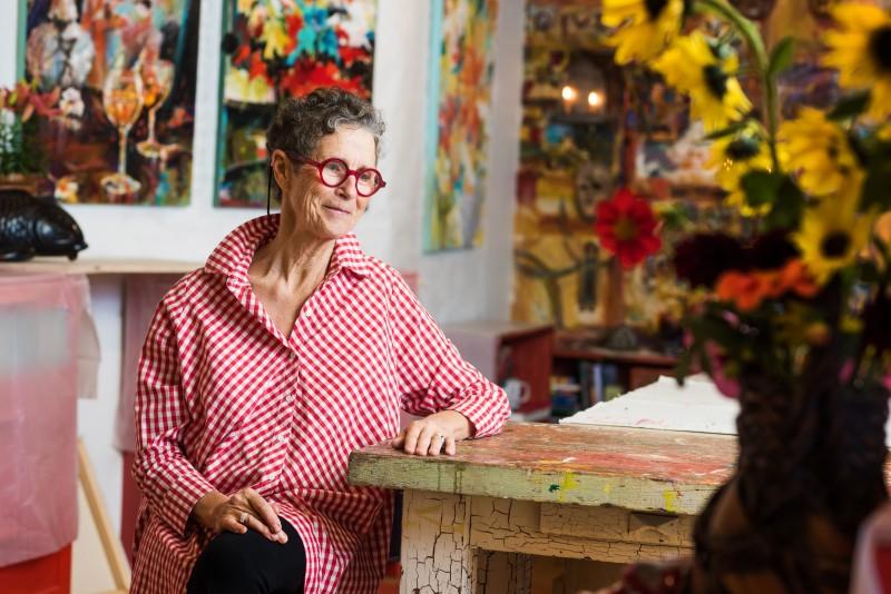 The artist in her studio.