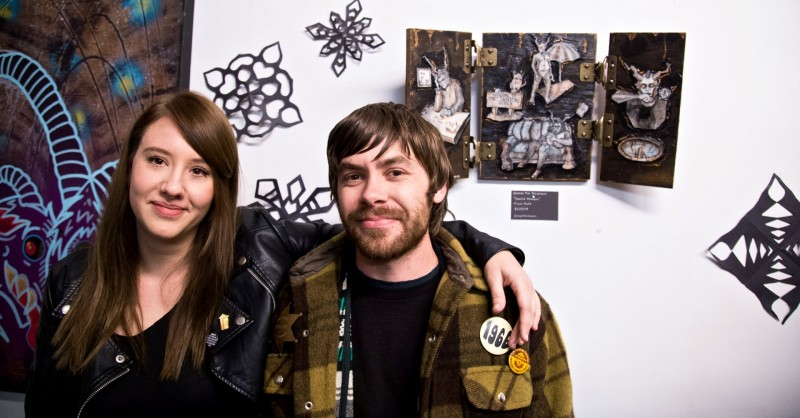 Artist Amanda Mae Blackmore with friend at The Krampusnacht Group Show at Beluga and Bee Studio in Santa Rosa.