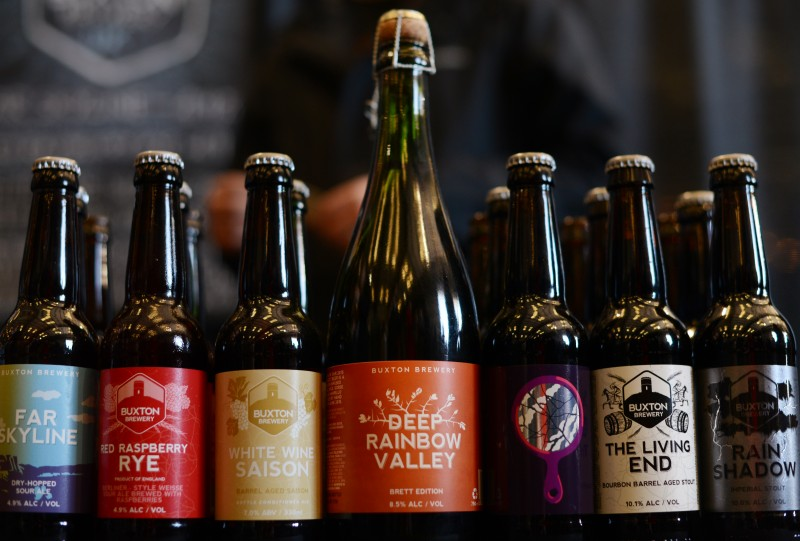 Bottles of Buxton Brewery, United Kingdom beers during RateBeer Best International Beer Festival held at Kaiser Air Inc. private hangar Sunday in Santa Rosa, California. January 31, 2016. (Photo: Erik Castro/for The Press Democrat)