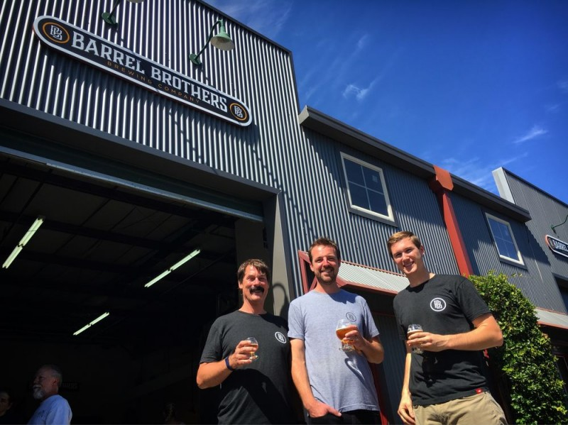 Founders of Barrel Brothers Brewing Company (Left to right) Tom Sather, Daniel Weber, and Wesley Deal. (Photo courtesy of Barrel Brother Yelp page)