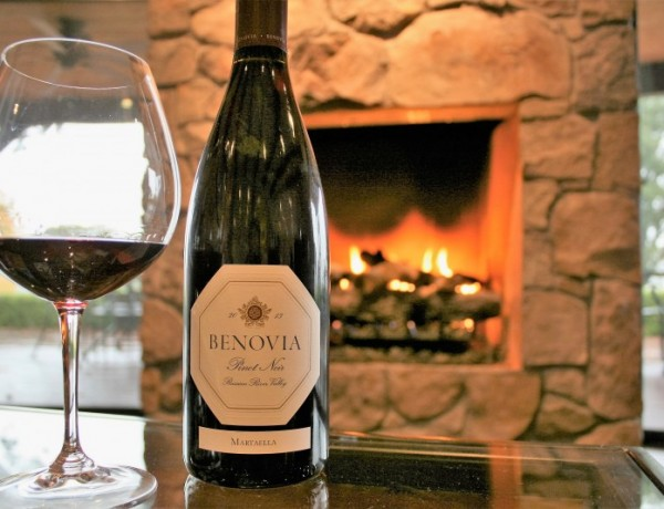 A roaring fire warms a seating area at Benovia Winery in rural northwest Santa Rosa.