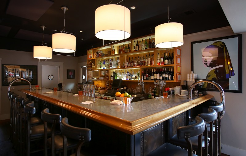 The indoor bar at Bravas Bar de Tapas, in Healdsburg. (Christopher Chung)