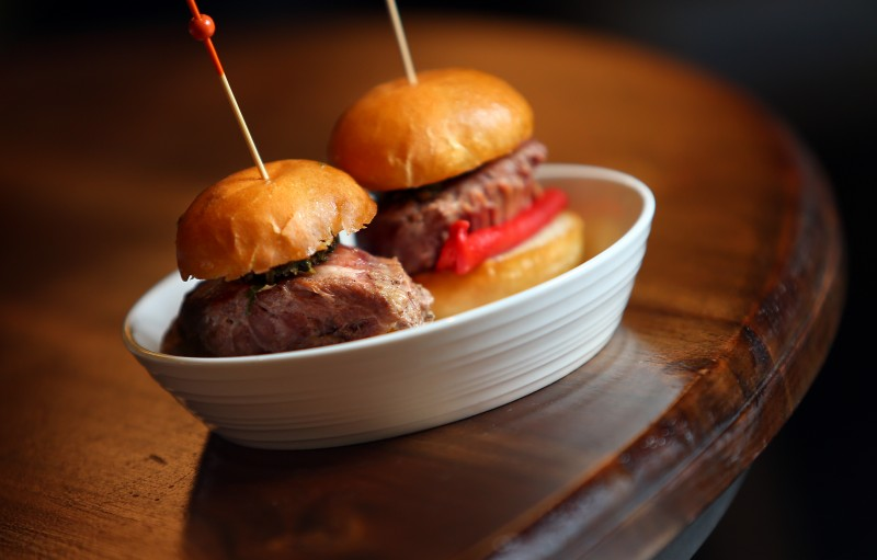 Long Cooked Pork Cheeks Bocadillos at Bravas Bar de Tapas, in Healdsburg. (Christopher Chung/