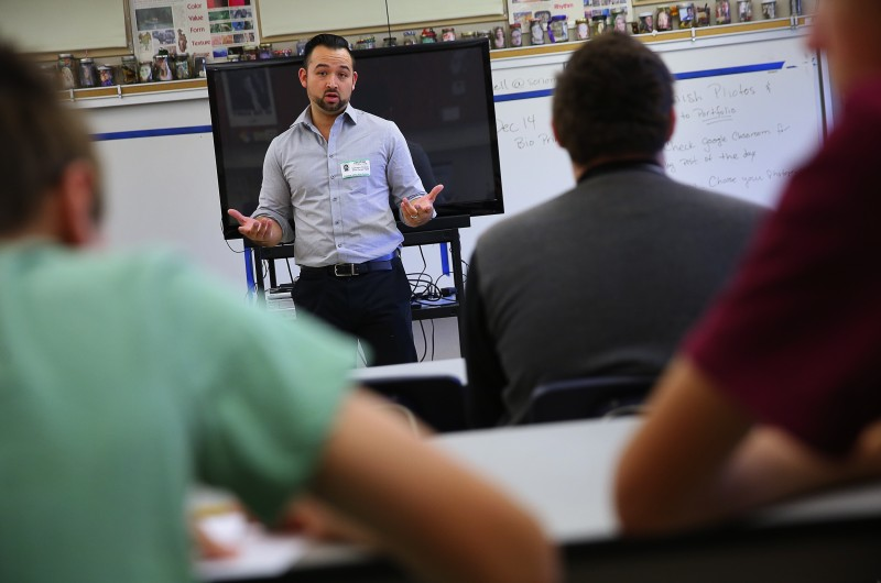 Sal Chavez speaks to a group of Sonoma Valley High School students, as part of a career panel, in Sonoma, on Thursday, November 17, 2016. (Christopher Chung