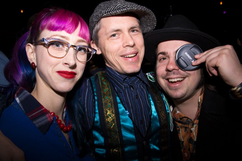 Felix Macnee, Jesse Lemme and friend at the Royal Jelly Jive gig at HopMonk in Sebastopol. (Estefany Gonzalez)
