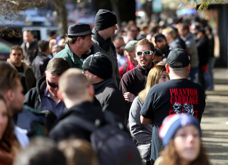 Beer lovers from around the world stood in line for their chance to taste Pliny the Younger at Russian River Brewing Company in Santa Rosa on Friday. (JOHN BURGESS