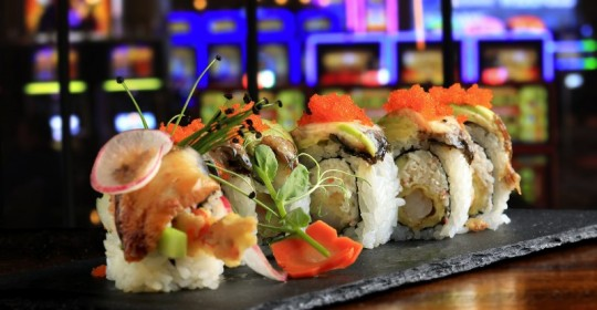 The Dragon Roll with shrimp tempura, crab, BBQ eel, avocado and unagi sauce from the Boathouse Asian Eatery in the Graton Casino. (John Burgess)