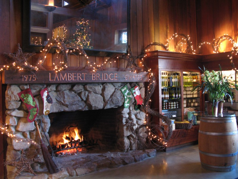 Lambert Bridge Winery on West Dry Creek Road near Healdsburg has a cozy tasting room with a fireplace.