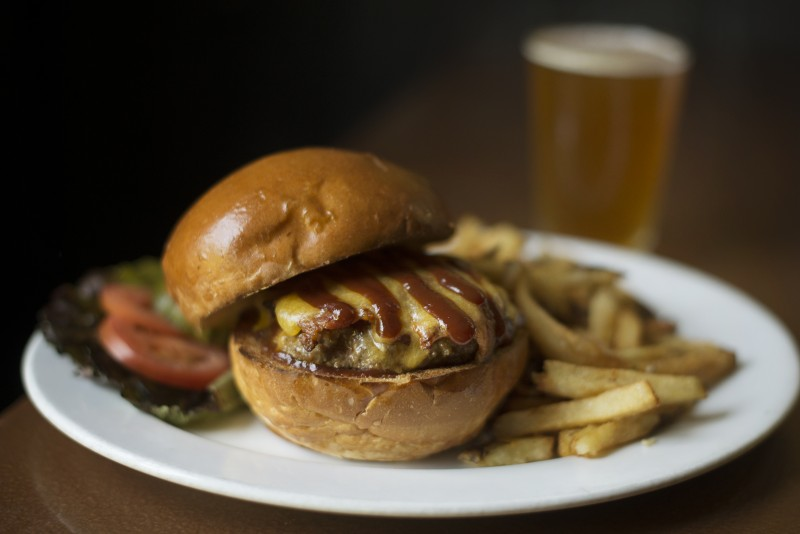 Smokey Sebastopol burger with bacon, cheddar and in-house made barbecue sauce at Barley and Hops Tavern in Occidental. May 16, 2016. (Photo: Erik Castro/for The Press Democrat)