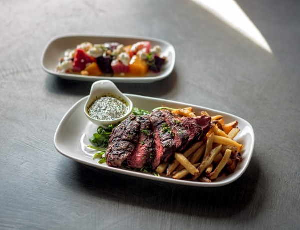 Beets with goat cheese and hazel nuts, and steak frites at Boon Eat + Drink   Chris Hardy