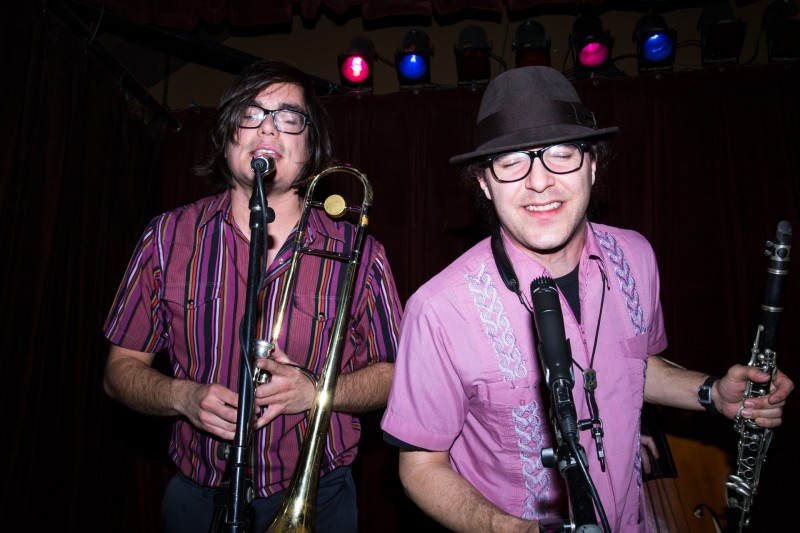 Luke Zavala (left) and Robby Elfman (right) of Royal Jelly Jive perform at HopMonk Tavern in Sebastopol.