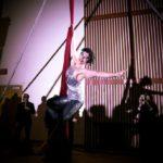 Aerial acrobat Sierra Faulkner performs at the inaugural Rivertown Ball, December 31. (Estefany Gonzalez)