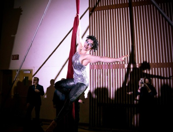Aerial acrobat Sierra Faulkner performs at the inaugural Rivertown Ball, December 31. (Estefany Gonzalez)