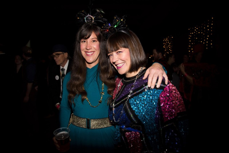 Kristen Pierce (left) and Ashley Jarett (right) of The Oopsie Daisies duo ring in the New Year at the inaugural Rivertown Ball in Petaluma. (Estefany Gonzalez)