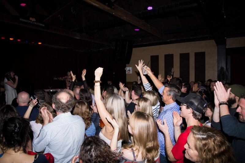 The crowd is enjoying the Royal Jelly Jive show at HopMonk Tavern in Sebastopol. (Estefany Gonzalez)