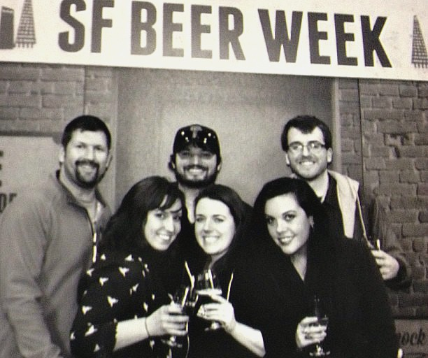 Consumers enjoying the SF Beer Week Opening Gala in 2014 with the photo booth. Left to right: Tim and Jess Vallery, Derek and Erin Manus, and Adam and Ashley Stewart.