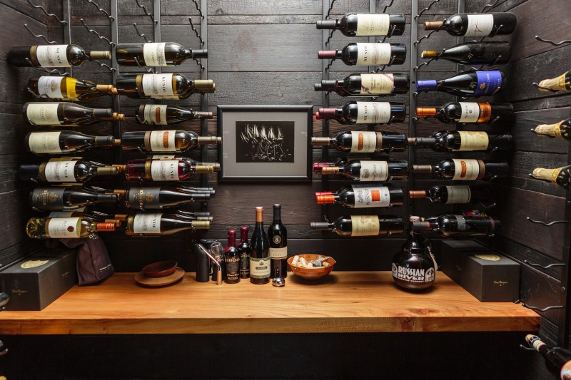 The wine closet is tucked away near the entry, just off the long main hallway. Local Sonoma Valley wines are a favorite.