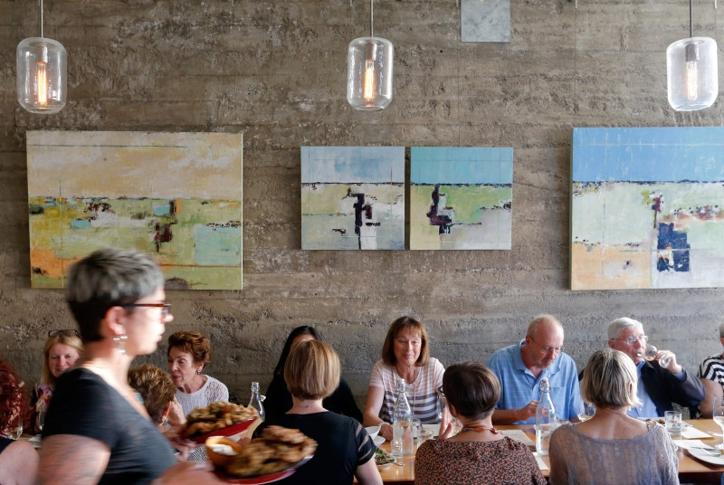Guest dine at the Spinster Sisters in the SOFA district in Santa Rosa. (Alvin Jornada)