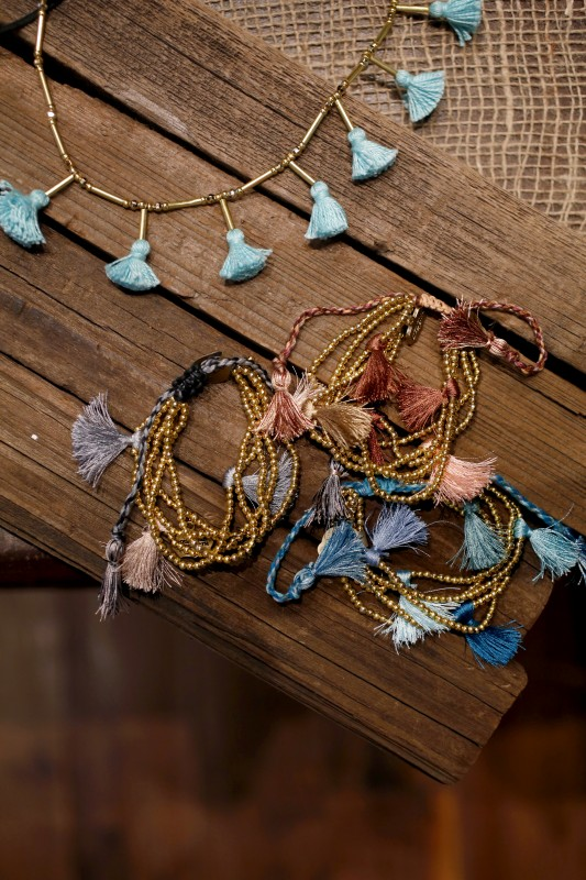 Tassel bracelets and necklaces are featured in Robindira Unsworth's new line of jewelry at her shop in Petaluma, California on Tuesday, January 13, 2015. (BETH SCHLANKER/ The Press Democrat) Robindira Unsworth