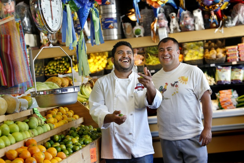 Brothers Pedro, left, and Octavio Diaz at their store Casa del Mole Mercado and Carniceria in Healdsburg, on Monday, August 10, 2015. The brothers also own three Mexican restaurants in Sonoma County.(BETH SCHLANKER