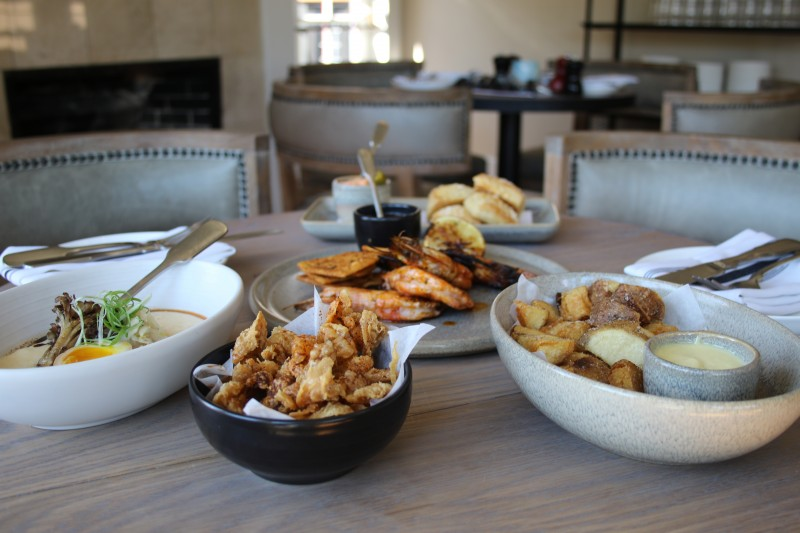 Wood grilled Gulf shrimp, grits and potatoes at Bird and The Bottle in Santa Rosa .(Heather Irwin/The Press Democrat)