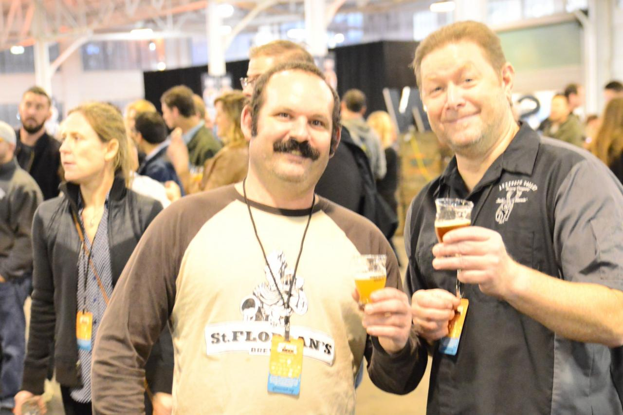 Sf BEer week is about creating relationships and sharing new innovative information among brewers. (Left: brewer from St. Florian's in Windsor and Right: brewer) from Anderson Valley Brewing in Boonville, CA