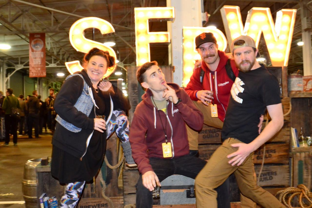 The SF Beer Week sign at the opening gala was the perfect setting to pose for pictures. This is the crew from Cellarmaker Brewing in San Francisco. (Photo by Tim Vallery)