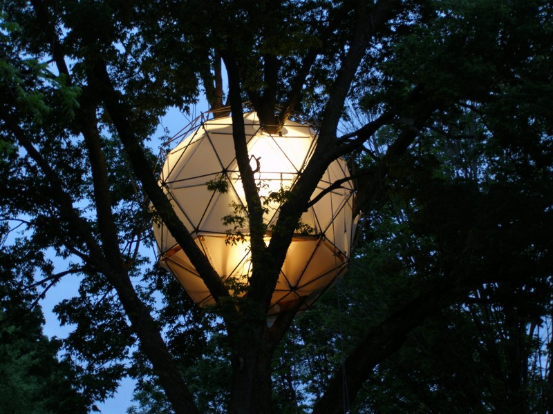 "The ""Glowing Dome"" treehouse."