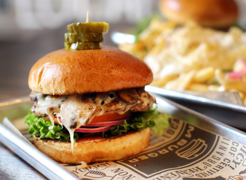 Shroomaluma burger at Slamburger in Petaluma. Heather Irwin/PD