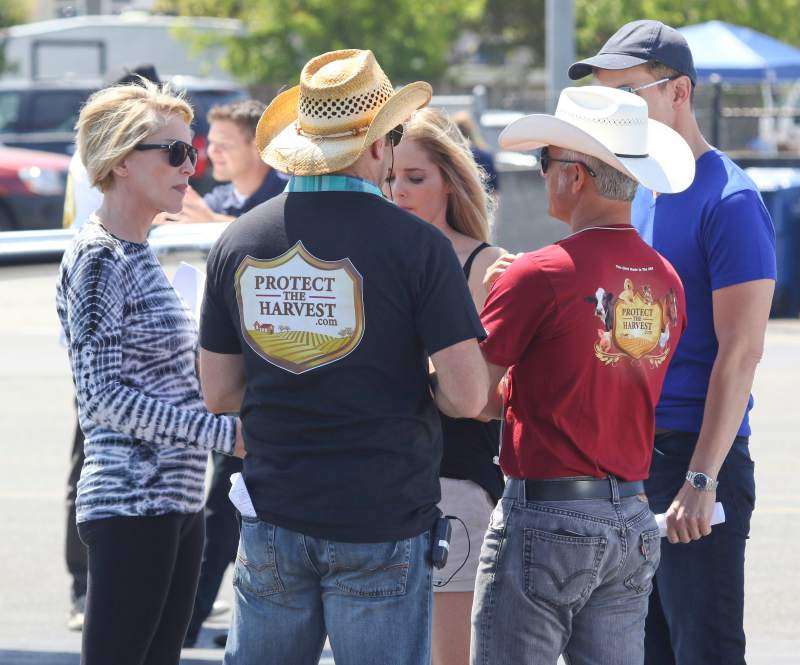"Sharon Stone at the set of ""Running Wild"" at the Petaluma Municipal Airport. (Scott Manchester)"
