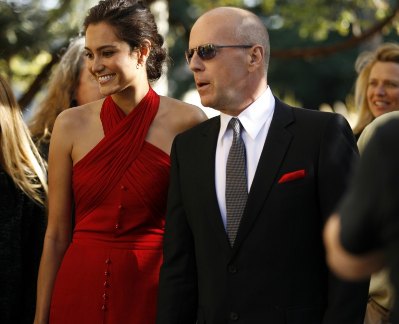 Bruce Willis and Emma Heming arrive Saturday at a pre-tribute party at Estate on West Spain in Sonoma. PC: Bruce Willis arrived with new wife Emma Heming to the VIP Members Reception at Estate on West Spain Street during the 12 Annual Sonoma International Film Festival. cj0404_BruceWillisTribute04.jpg Crista Jeremiason