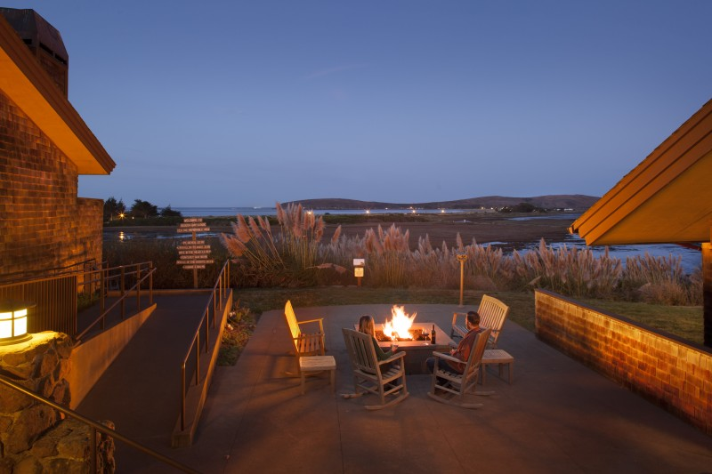 The fire pit at Bodega Bay Lodge. (