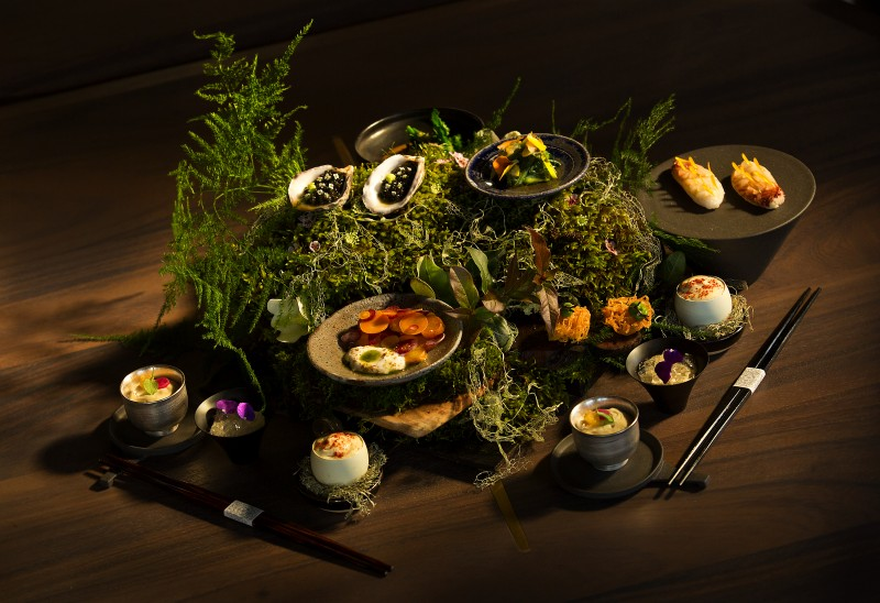The guest is greeted with an array of dishes presented on a bed of wood, moss and ferns at Single Thread Farms Restaurant in Healdsburg. (John Burgess/