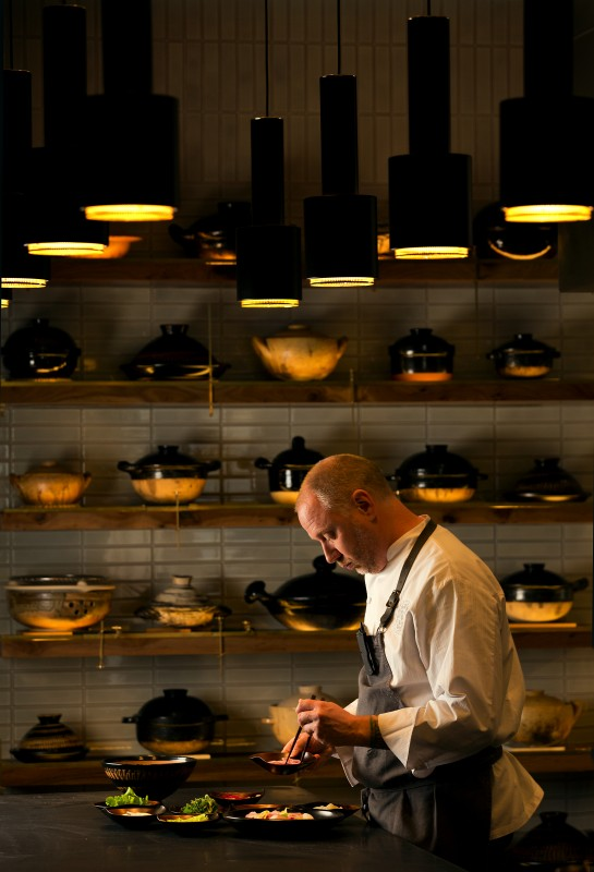 Chef Kyle Connaughton uses ceramic pots from his Japanese donabe collection to prepare his meticulous multicourse feasts. (John Burgess)