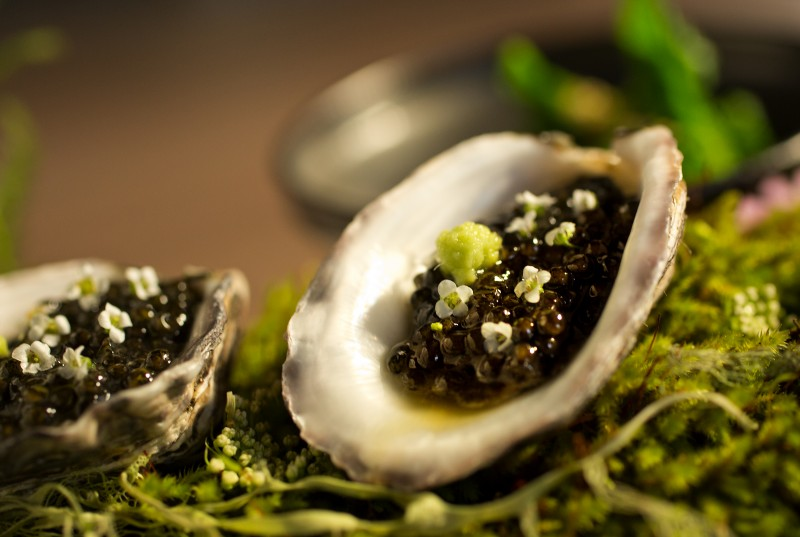 The Mid Winter in Sonoma County includes Kushi Oyster, Passmore Ranch Caviar and Alyssum Flower from Single Thread Farms Restaurant in Healdsburg. (John Burgess