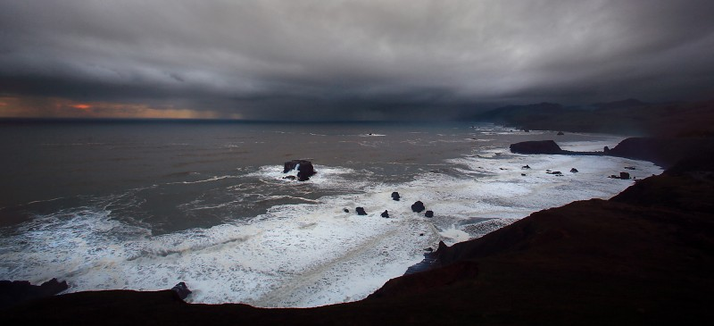 A thunderstorm rolls onshore at Goat Rock on the Sonoma Coast, Monday Jan. 23, 2017. (Kent Porter