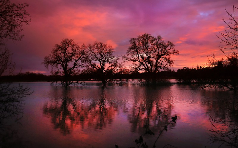 After days of rain, Sonoma County came out from under the pall of wet weather with a brilliant sunset over the Laguna de Santa Rosa near Sebastopol, Friday Feb 10, 2017. (Kent Porter