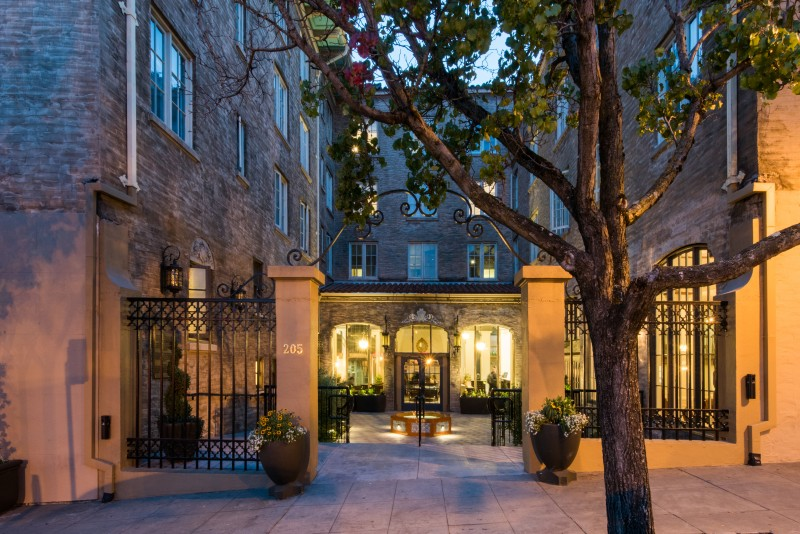 The restored open courtyard makes for a stunning entrance at Hotel Petaluma. (Rebecca Chotkowski)