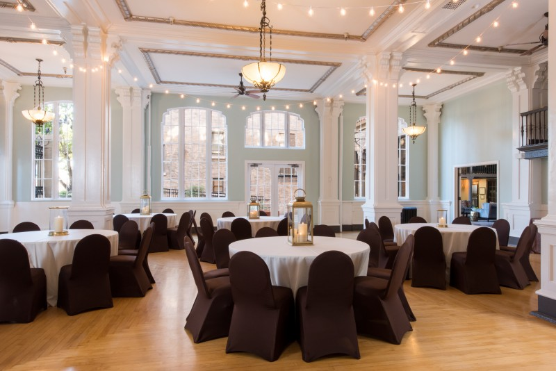 The 1,900-square-foot ballroom is light and airy.