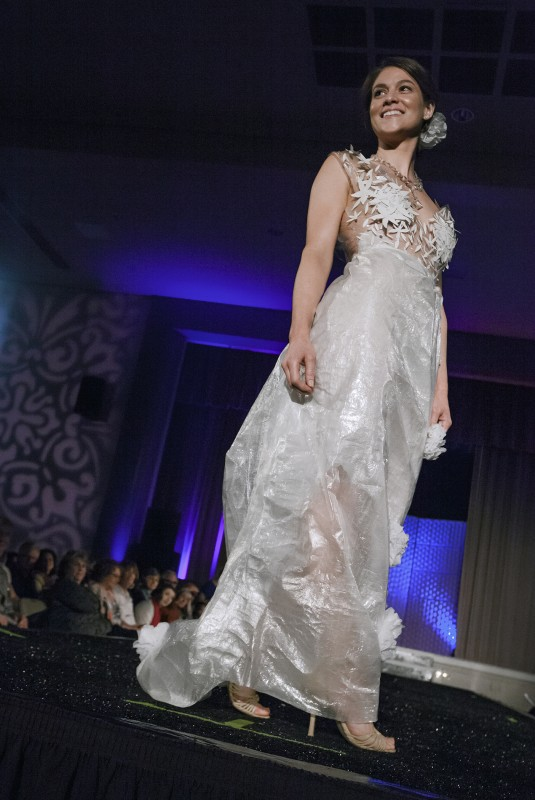 "Amanda Luippold designed and modeled ""Crystal Vision,"" made from shipment packaging, at the Sonoma Community Center's Trashion Fashion Show last Saturday, March 19. High couture made from lowly rubbish graced the catwalk at the Vets Building before an appreciative crowd. (Photos by Robbi"