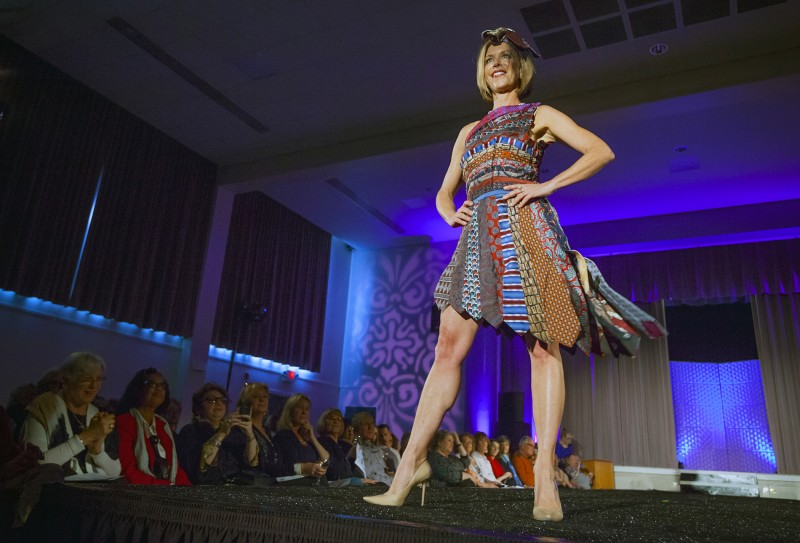 """Amara Morrison models Elfride Whitcher's design - """"Fit to be Tied,"""" made from men's neckties - at the Sonoma Community Center's Trashion Fashion Show 2016. ( Robbi Pengelly"""