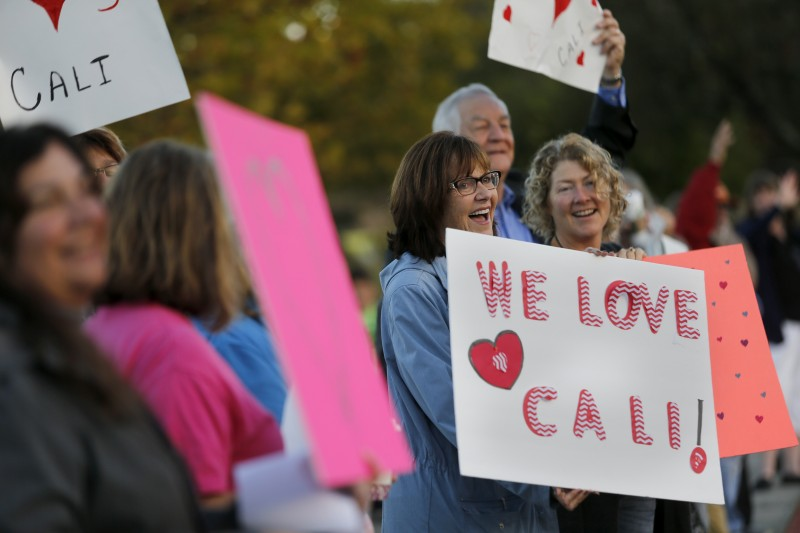 In the days following vandalism at Cali Calmécac Language Academy, community supporters including Christina Larkin and Susan Nelson, right, gathered outside the school as children arrived for class. (Beth Schlanker)