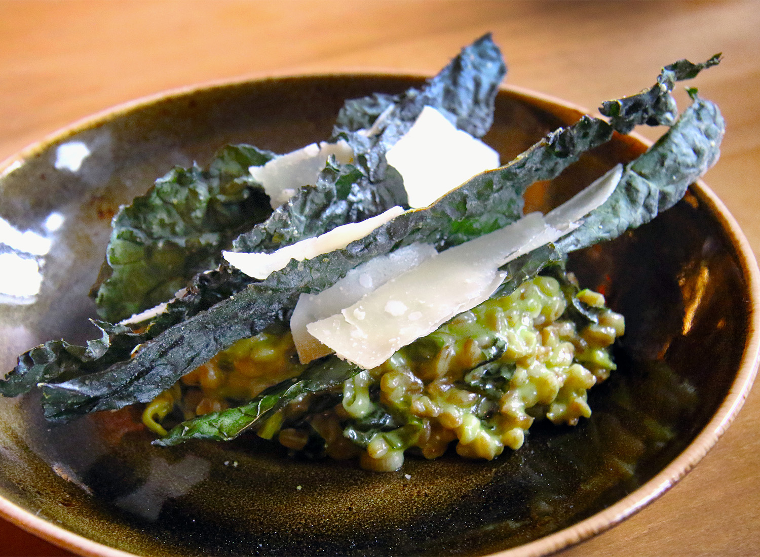 Farro risotto with green garlic, kale and parmesan at County Bench in ...