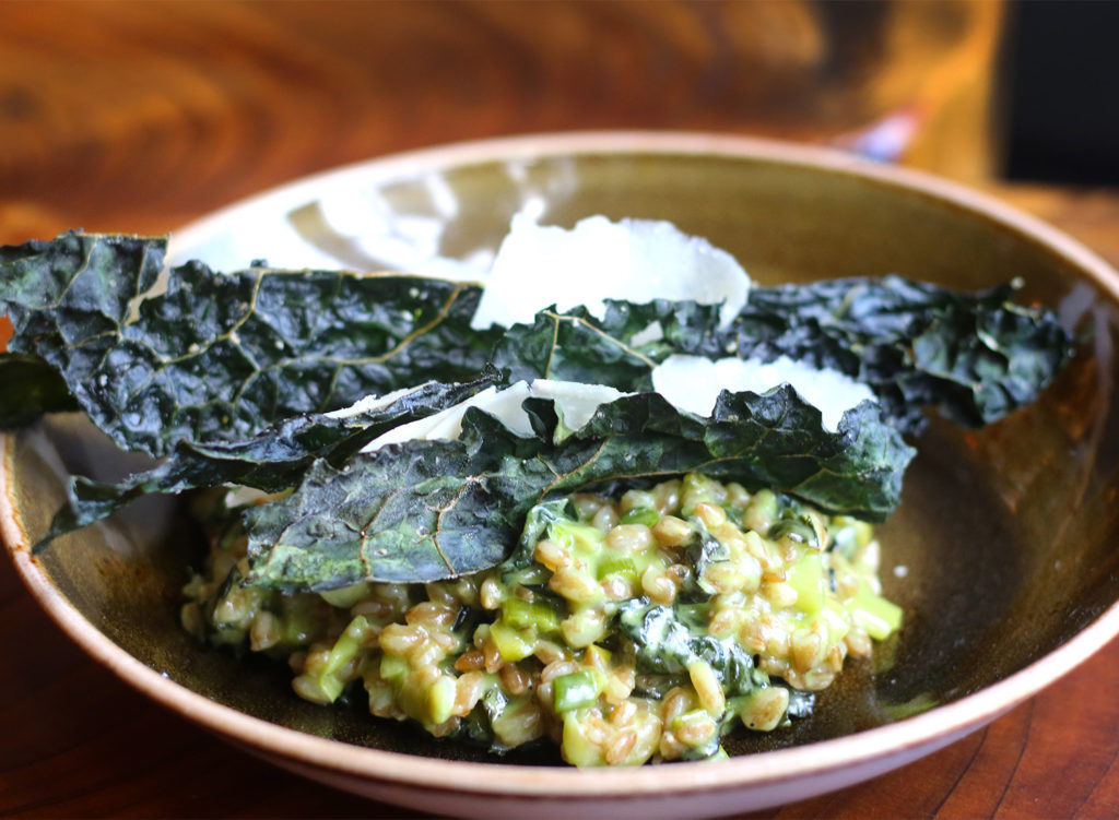 Farro risotto with green garlic, kale, and Parmesan at County Bench in Santa Rosa. Heather irwin/PD