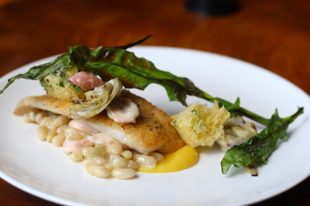 Petrale sole with artichoke hearts, braised octopus, dandelion, French flageolet beans at County Bench in Santa Rosa. Heather Irwin/PD